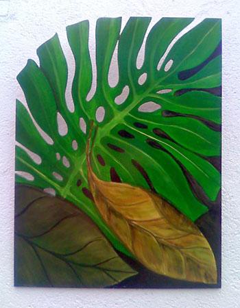 Folhas recortadas no MDF e pintadas como uma tela