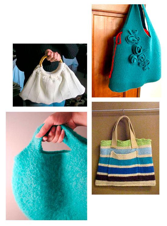 Bolsas criadas a partir da reciclagem de blusas usadas