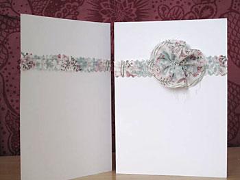 Cartão com retalho e rosa de tecido, um artesanato bem simples
