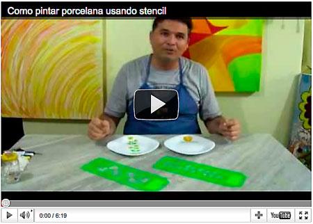 Vídeo aula de como pintar porcelana com stencil