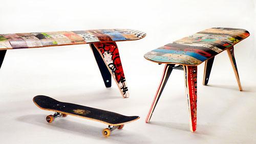 Banquetas produzidas com os shapes de skates