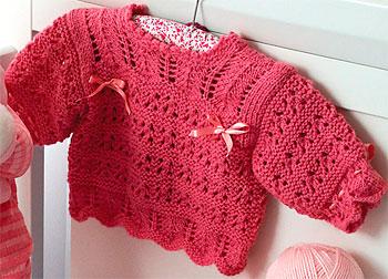 Casaquinho rosa para meninas em tricô