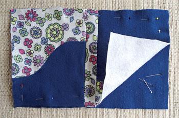 Alfinete lados avesso de capa e contra capa para costurar