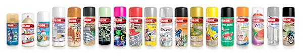 Produtos Colorgin de tintas em spray