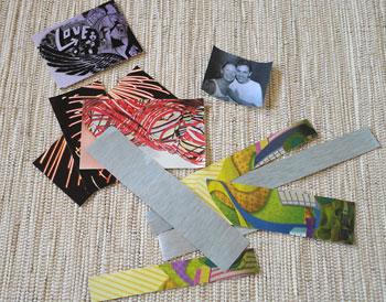 Recorte tiras de papel com cores variadas