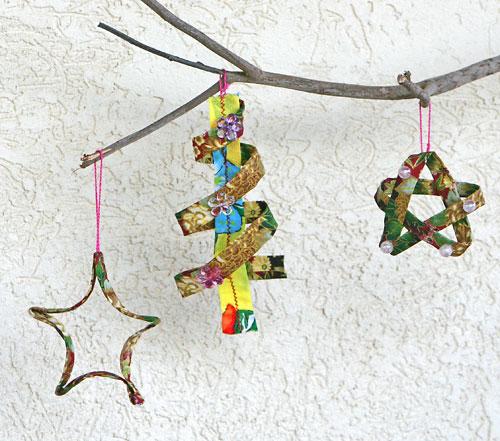 Enfeites de natal feitos com retalhos de tecido