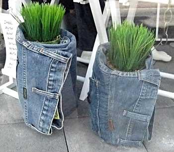 Cachepôs para vasos feitos com jeans reciclados