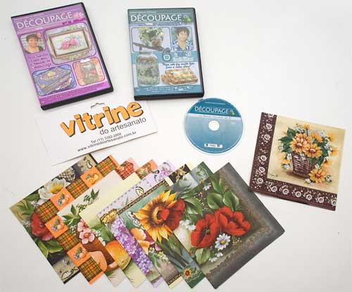 Dvd's com várias aulas de decoupagem e kits prontos para produzir artesanato