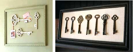 Coleção de chaves reunidas em molduras de quadros