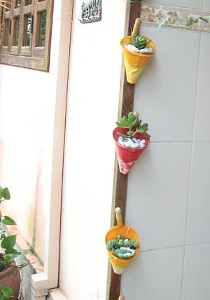 Vasos de coador de pano, para as plantinhas