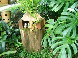 Decoração de jardim com cerâmica