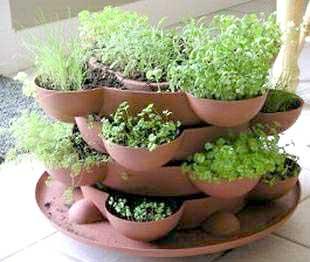 Vasos empilhados para criar uma horta de temperos