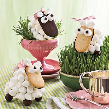 Carneirinhos de marshmallow para enfeitar a mesa