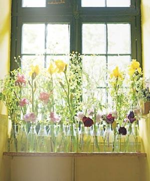 Vidros iguais enfileirados em arranjo sob a janela