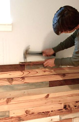 Fixando madeira usada na parede