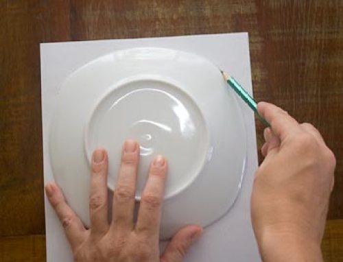 Marque num papel o tamanho do prato