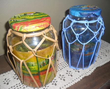 Vidros de conserva decorados com fibra de junco sintética