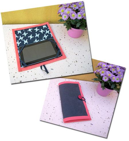 Capa de tablet com acabamento vermelho