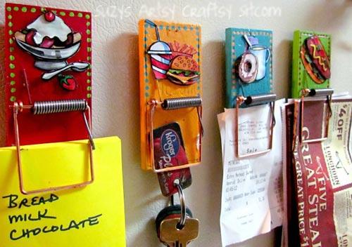 Ratoeiras transformadas com o artesanato em porta-objetos