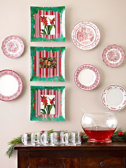 Pratos decorados com decupagem para enfeitar a casa no natal