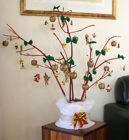 Minha árvore de natal feita de galhos secos