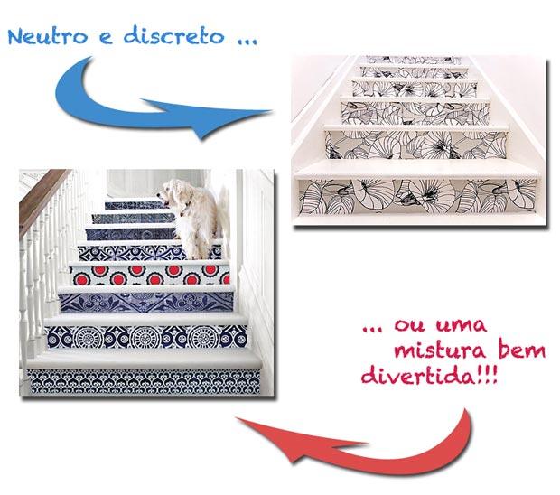 Papel de parede, adesivos e con-tact para decorar as escadas