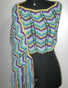 Xale em pontos trabalhados de tricô