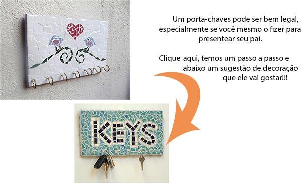 Porta-chaves em mosaico para presentear homens