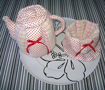 Bule e xícara em patchwork