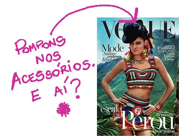 Pompons em revistas de moda