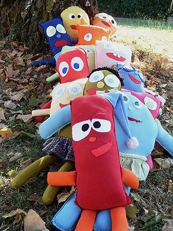 Bonecos de tecido de retalhos para o Dia das Crianças