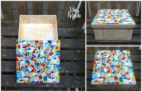 Caixa com tampa em mosaico em detalhes
