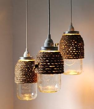 Luminárias de vidros de conserva