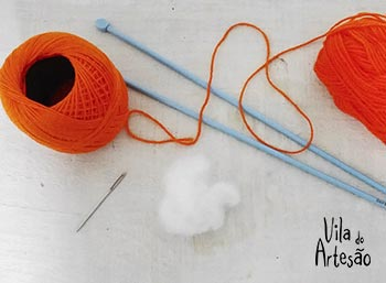 Material para cenourinhas de tricô