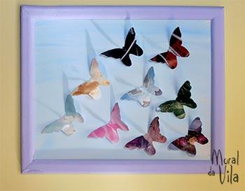 Quadro com colagem de borboletas