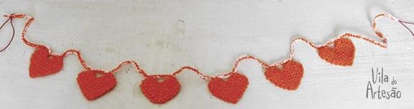 Guirlanda de corações de tricô, como fazer