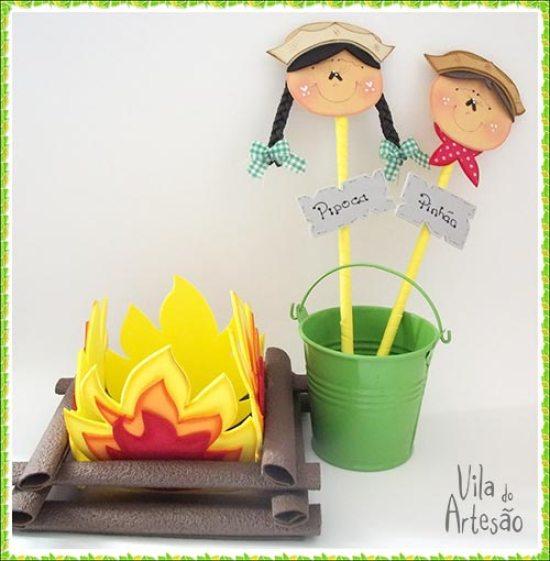 Enfeites de festa junina feitos em casa usando o EVA