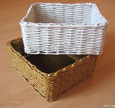 Somos curiosos pra saber como faz, como trançar uma cesta. Esta é de rolinhos de jornal e custa quase nada. Veja.