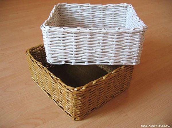 Como trançar uma cesta com rolinhos de papel