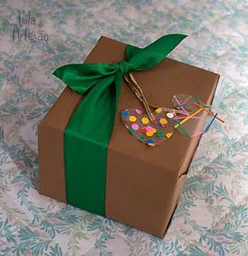 Detalhe das tags de presentes