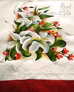 Barrado de toalha de copa com flores