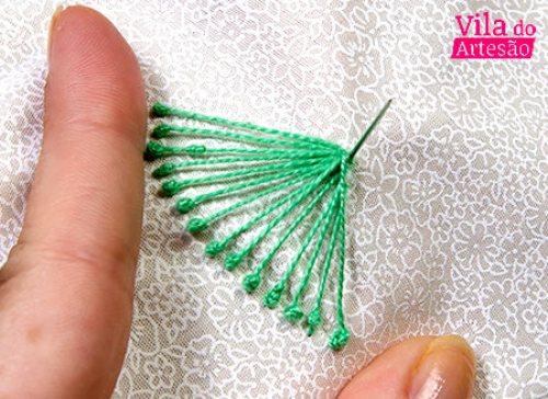 Como bordar - Puxe o fio a partir do centro