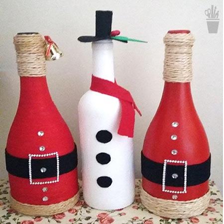 Garrafas de natal decoradas