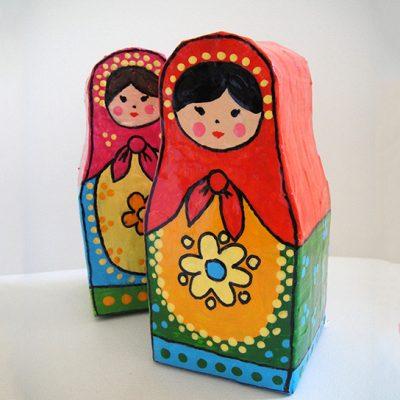 Matrioskas feitas a partir de tetrapak