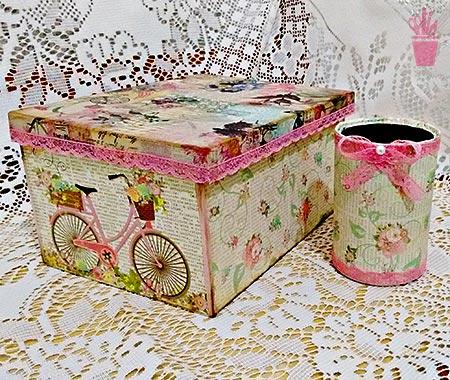 Caixa e porta trecos decorados com papel