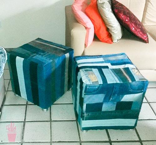 Reciclagem de jeans para forrar pufes
