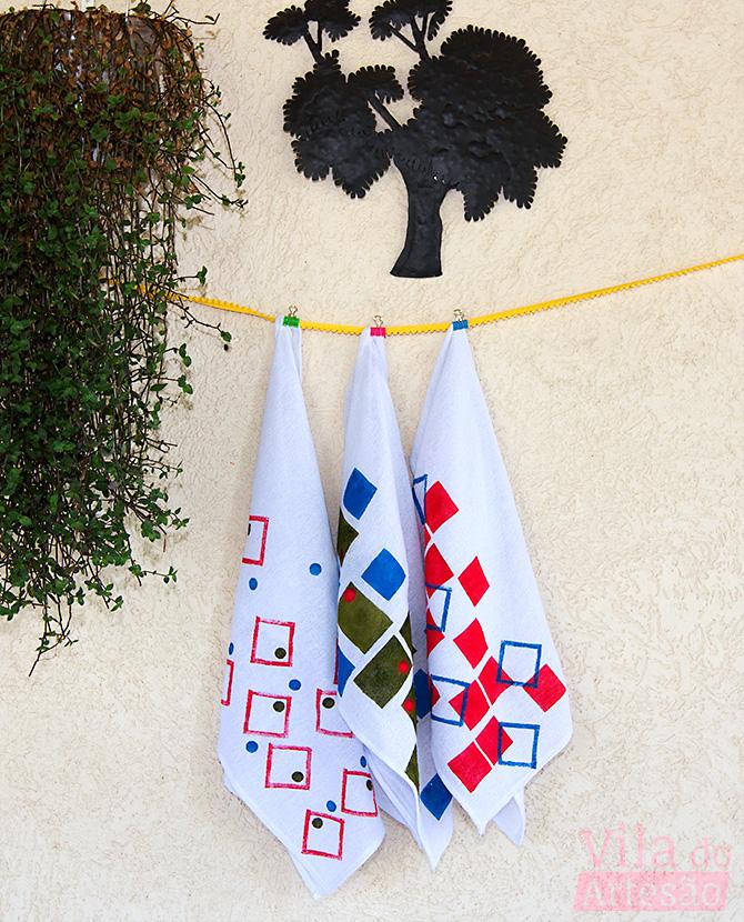Como pintar tecido usando estêncil e carimbo