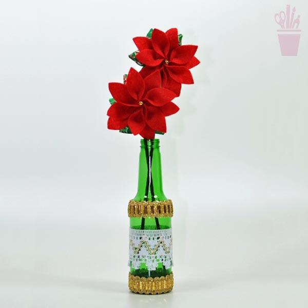 Arranjo de mesa com flores de natal