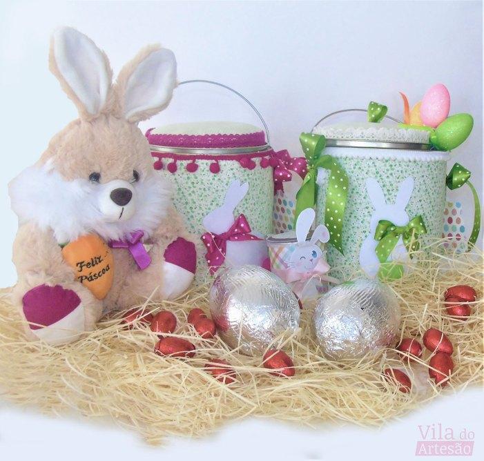 Latas decoradas para a páscoa usando tecido e criatividade