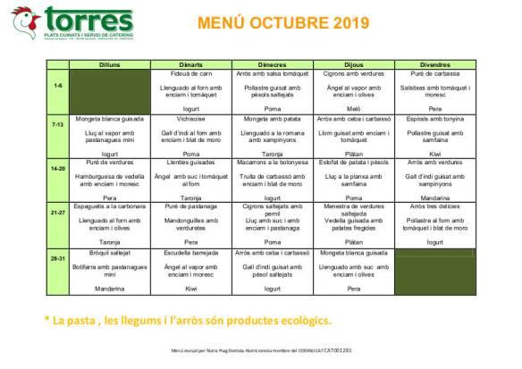 MENU GENERIC OCTUBRE 2019